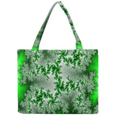 Green Fractal Background Mini Tote Bag by Simbadda
