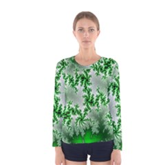 Green Fractal Background Women s Long Sleeve Tee by Simbadda