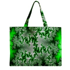 Green Fractal Background Zipper Mini Tote Bag by Simbadda