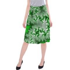 Green Fractal Background Midi Beach Skirt by Simbadda