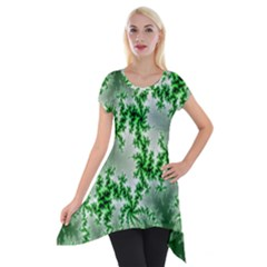 Green Fractal Background Short Sleeve Side Drop Tunic by Simbadda