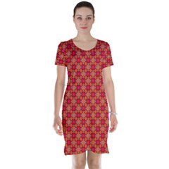 Abstract Seamless Floral Pattern Short Sleeve Nightdress