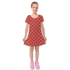 Abstract Seamless Floral Pattern Kids  Short Sleeve Velvet Dress by Simbadda