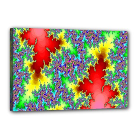 Colored Fractal Background Canvas 18  X 12  by Simbadda