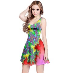 Colored Fractal Background Reversible Sleeveless Dress by Simbadda