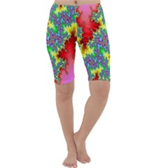 Colored Fractal Background Cropped Leggings  by Simbadda