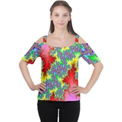 Colored Fractal Background Women s Cutout Shoulder Tee