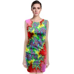 Colored Fractal Background Classic Sleeveless Midi Dress