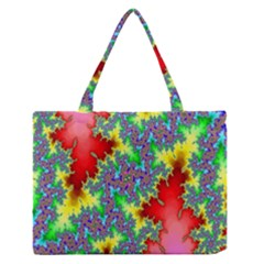 Colored Fractal Background Medium Zipper Tote Bag by Simbadda