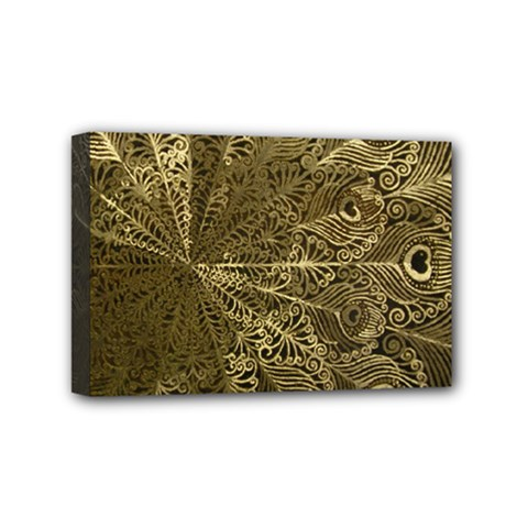 Peacock Metal Tray Mini Canvas 6  X 4  by Simbadda