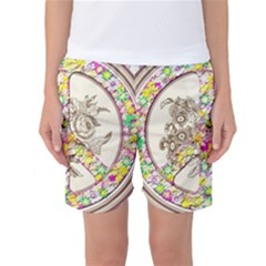 Peace Logo Floral Pattern Women s Basketball Shorts