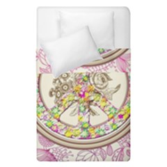 Peace Logo Floral Pattern Duvet Cover Double Side (single Size) by Simbadda