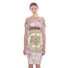 Peace Logo Floral Pattern Classic Short Sleeve Midi Dress