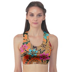 Colorful The Beautiful Of Art Indonesian Batik Pattern Sports Bra by Simbadda