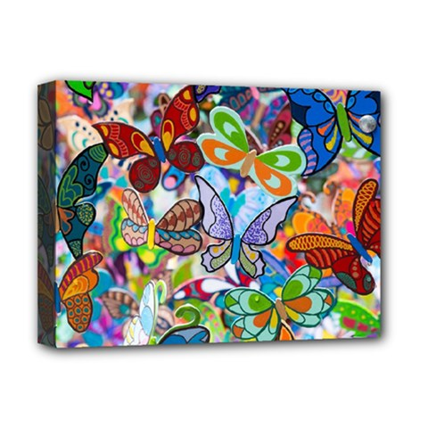 Color Butterfly Texture Deluxe Canvas 16  X 12   by Simbadda