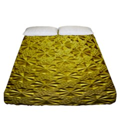 Patterns Gold Textures Fitted Sheet (king Size) by Simbadda