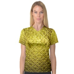 Patterns Gold Textures Women s V Neck Sport Mesh Tee by Simbadda
