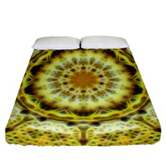 Fractal Flower Fitted Sheet (queen Size) by Simbadda