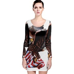 Independence Day United States Long Sleeve Velvet Bodycon Dress