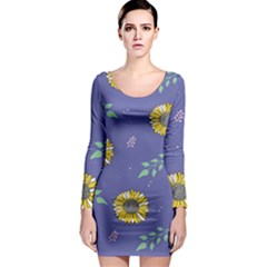 Floral Flower Rose Sunflower Star Leaf Pink Green Blue Yelllow Long Sleeve Bodycon Dress