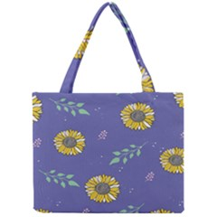 Floral Flower Rose Sunflower Star Leaf Pink Green Blue Yelllow Mini Tote Bag by Alisyart