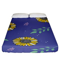Floral Flower Rose Sunflower Star Leaf Pink Green Blue Yelllow Fitted Sheet (king Size) by Alisyart