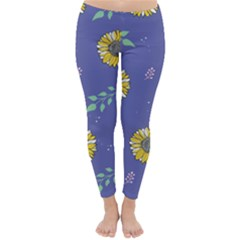 Floral Flower Rose Sunflower Star Leaf Pink Green Blue Yelllow Classic Winter Leggings
