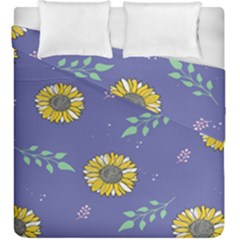 Floral Flower Rose Sunflower Star Leaf Pink Green Blue Yelllow Duvet Cover Double Side (king Size) by Alisyart
