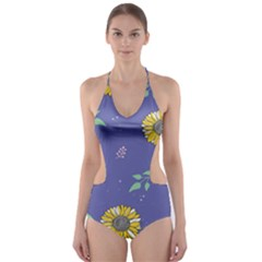 Floral Flower Rose Sunflower Star Leaf Pink Green Blue Yelllow Cut Out One Piece Swimsuit