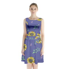 Floral Flower Rose Sunflower Star Leaf Pink Green Blue Yelllow Sleeveless Chiffon Waist Tie Dress
