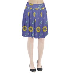 Floral Flower Rose Sunflower Star Leaf Pink Green Blue Yelllow Pleated Skirt