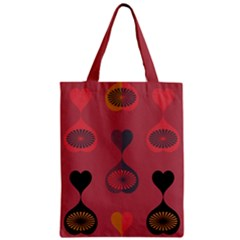 Heart Love Fan Circle Pink Blue Black Orange Zipper Classic Tote Bag by Alisyart