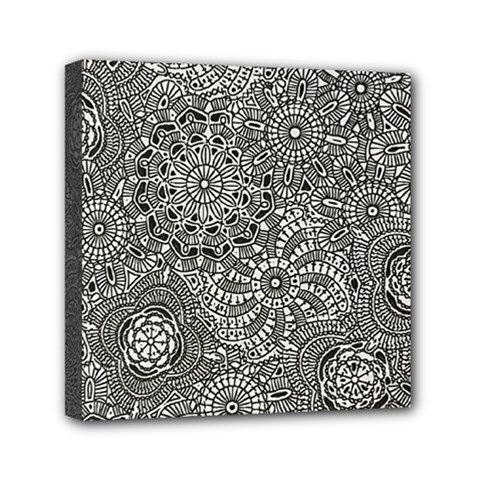 Flower Floral Rose Sunflower Black White Mini Canvas 6  X 6  by Alisyart