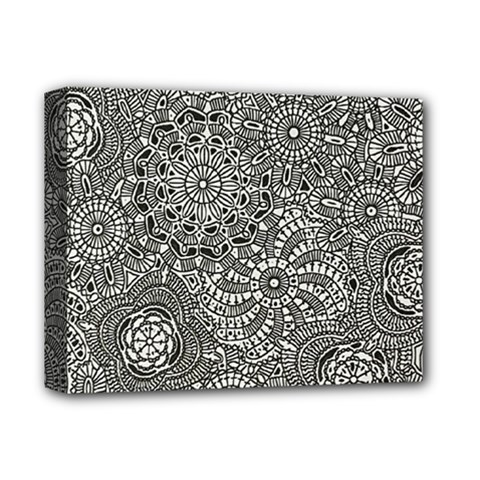 Flower Floral Rose Sunflower Black White Deluxe Canvas 14  X 11  by Alisyart