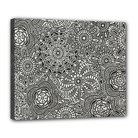 Flower Floral Rose Sunflower Black White Deluxe Canvas 24  X 20