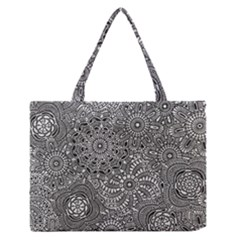 Flower Floral Rose Sunflower Black White Medium Zipper Tote Bag