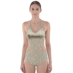 Leaf Grey Frame Cut Out One Piece Swimsuit