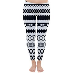 Love Heart Triangle Circle Black White Classic Winter Leggings