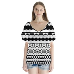 Love Heart Triangle Circle Black White Flutter Sleeve Top