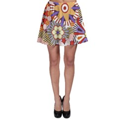 Flower Floral Sunflower Rainbow Frame Skater Skirt