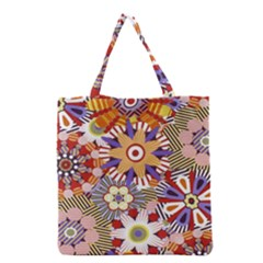 Flower Floral Sunflower Rainbow Frame Grocery Tote Bag by Alisyart