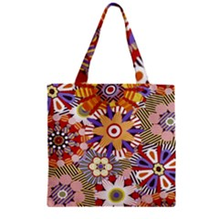 Flower Floral Sunflower Rainbow Frame Zipper Grocery Tote Bag by Alisyart