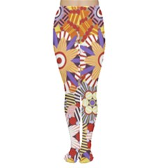 Flower Floral Sunflower Rainbow Frame Women s Tights by Alisyart