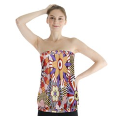 Flower Floral Sunflower Rainbow Frame Strapless Top