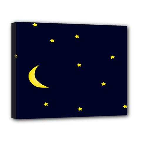 Moon Dark Night Blue Sky Full Stars Light Yellow Deluxe Canvas 20  X 16   by Alisyart