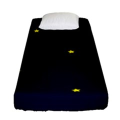 Moon Dark Night Blue Sky Full Stars Light Yellow Fitted Sheet (single Size)