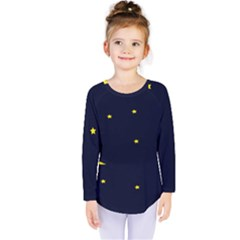 Moon Dark Night Blue Sky Full Stars Light Yellow Kids  Long Sleeve Tee by Alisyart