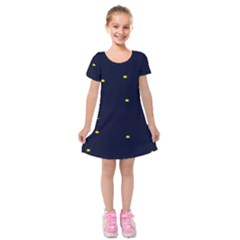 Moon Dark Night Blue Sky Full Stars Light Yellow Kids  Short Sleeve Velvet Dress