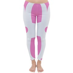 Love Heart Valentine Pink White Sweet Classic Winter Leggings