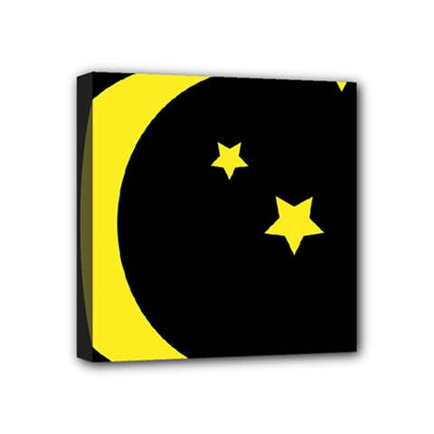 Moon Star Light Black Night Yellow Mini Canvas 4  X 4